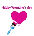Paintbrush and pink heart Abstract love concept vector image