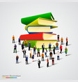 people crowd around book stack vector image vector image