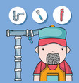 plumber repair with mechanical tools vector image vector image