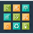 set eco icons in flat design style vector image vector image