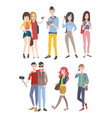 set young people guys and girls communicating by vector image vector image