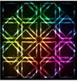 Shining neon lights rainbow squares background vector image vector image