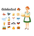 smiling bavarian woman dressed in traditional vector image vector image