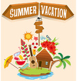 Summer vacation with bungalow on island vector image vector image