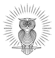 Vintage owl label in line art style logo vector image