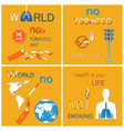 world no tobacco day posters set globe lungs smoke vector image vector image