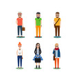 Hipster girls and boys cartoon icons vector image