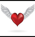 Red heart with wing love symbol vector image