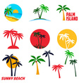 Set of palm island labels and emblems vector image