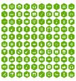 100 karaoke icons hexagon green vector image vector image