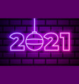 2021 neon text new year design template vector image vector image