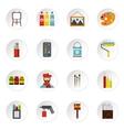 Artist studio icons set flat style vector image