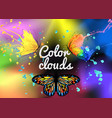 background with butterfly colored smoke vector image