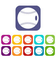 baseball ball icons set flat vector image vector image