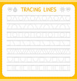 basic writing trace line worksheet for kids vector image