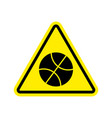 basketball warning sign yellow game hazard vector image vector image