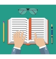 Book flat icon with hand reading person concept vector image vector image