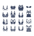 Bra design flat silhouettes icons set vector image vector image