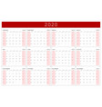 calendar 2020 basic grid simple design template vector image vector image