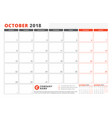 calendar template for 2018 year october business vector image vector image