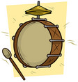 cartoon drum and big drumstick icon vector image