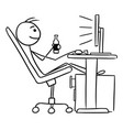 cartoon of man sitting in front of computer and vector image