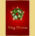 christmas background with fir branches and gold vector image vector image