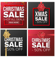 christmas sale banner set cartoon business vector image vector image