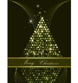 Christmas tree green and gold vector image vector image
