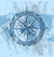 compass rose on background of world map vector image vector image