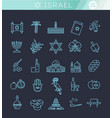country israel travel vacation icons set vector image vector image