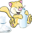cute kitty with milk isolated on white background vector image vector image