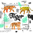 cute tiger hand drawn design childish background vector image vector image