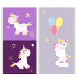 cute unicorn cards magic baby vector image