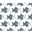 Dark blue grunge fishes seamless pattern vector image vector image