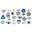 evil eye symbols hand drawn eyes talismans vector image