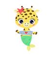 flat cute cartoon giraffe mermaid vector image