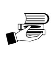 hand holding books pile vector image vector image