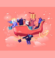 happy male and female characters sitting in santa vector image