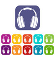 headphones icons set vector image vector image