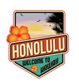 honolulu travel sticker vector image