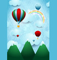 hot air balloons over the mountain vector image