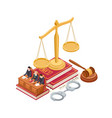 isometric law and justice concept 3d scale vector image vector image