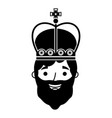 king man with crown character vector image