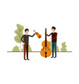 men with musical instruments in landscape vector image vector image