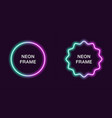 neon frame in circle shape template vector image