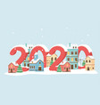new year 2020 greeting card houses town trees snow vector image