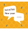 pattern bee on honeycombs background vector image