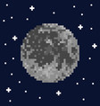 pixel art moon and stars vector image vector image