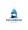 polar bear building logo icon vector image vector image